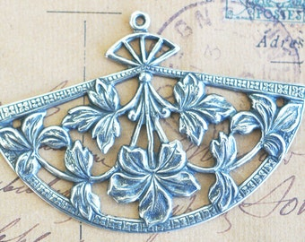 Brass Neo Victorian Fan with leaves charms, TWO,  Sterling Silver Finish