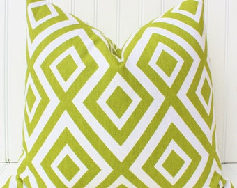 Green Pillow, Throw Pillow Cover, Chartreuse Green Pillows, Cushion Cover, Green White Pillows, Geometric Pillows, Green and White Pillow