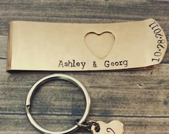 Bronze Money Clip and Key Chain Set Hand Stamped Couples Accessories, Wedding Gifts, His and Her, Original Design by Miss Ashley Jewelry
