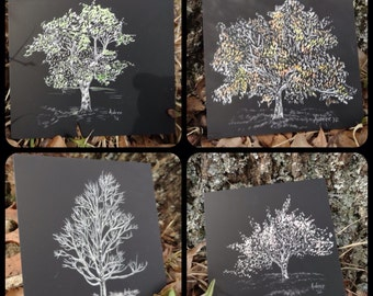 Four seasons artwork, Summer, Fall, Winter, Spring, tree art prints