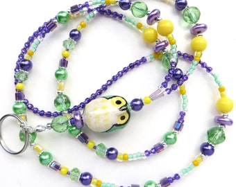 SPRING OWL- Beaded ID Lanyard- Porcelain Owl, Glass Pearls, Sparkling Crystals (Comfort Created)