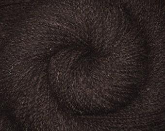 Handspun yarn - NATURAL BLACK - Natural color Shetland wool, Worsted weight, 260 yards