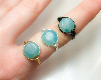 Ring of Courage - Throat Chakra - Amazonite Wire Wrapped Ring - Gold, Silver, and Black - Powerful Healing Ring