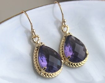 Gold Amethyst Earrings Purple Tanzanite Jewelry - Purple Bridesmaid Earrings Eggplant Wedding Earrings Bridal Jewelry - Bridesmaid Gift
