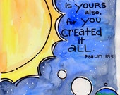 Bible Verse God Created It All Illustrated Watercolor Print