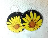 Recycled Tin Earrings, SunFlower Tin Box Earrings, Daisy Earrings ~ BRIGHT Yellow Flowers on Black . . . Eco Friendly Recycled Tin Ear Art!