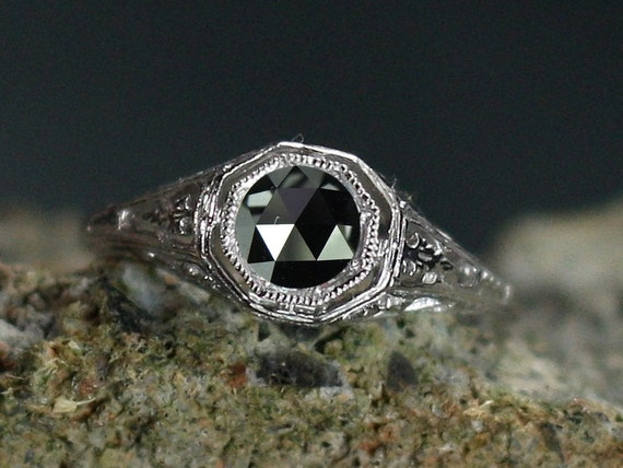 Black Diamond Engagement Ring Antique Style Filigree Kassandra