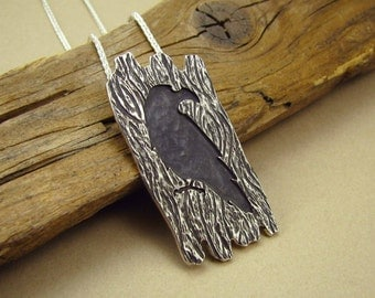 Raven Pendant with Tree Bark Texture, Sterling Silver with Chain Included