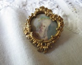 Exquisite Hand Painting on IVORY Portrait Pin Gold Filled Asymmetrical Frame