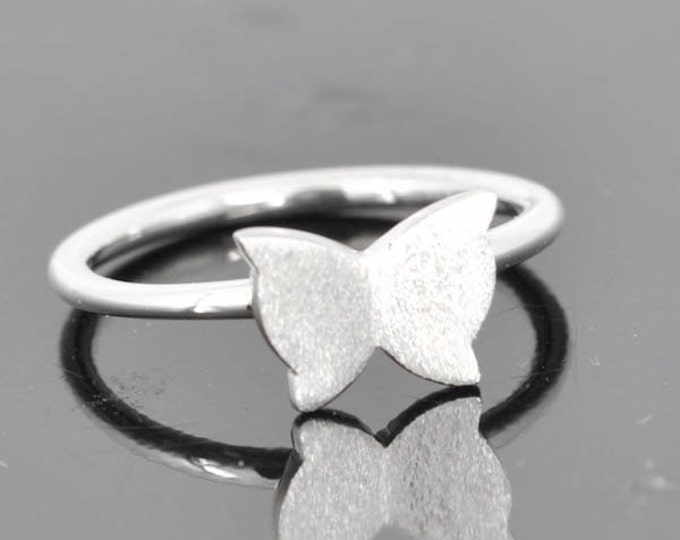 Butterfly ring, sterling silver ring, stacking ring, butterfly silver ring, novelty ring, eco friendly ring, statement ring