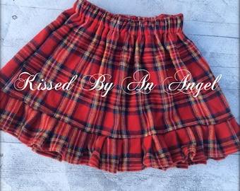 Back to school Girls cozy winter,Christmas,holidays red ruffled plaid dress,skirt for school,