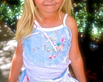 shabby chic Blue flower print two piece set Bermuda short and top with lace, for birthdays, beach weddings,flower girls