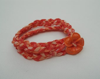 Hand-Braided and Hand-Colored OOAK Orange Silk Wrist Wrap Bracelet - One of a Kind Bracelet