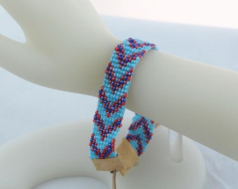 Turquoise, Cobalt Blue and Red Hand Loomed Seed Bead Tribal Plus Size Bracelet. Southwest Jewelry