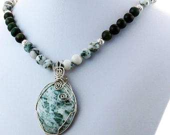 Tree Agate Malachite Sterling Natural Stone Pendant Necklace