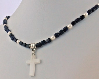 Snow Quartz Cross Pendant Dumortierite Pearl Handmade Necklace