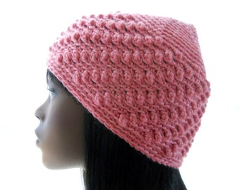 Women's Vegan Hat, Crochet Pixie Top Beanie Hat in Pink, Beanie with Bobbles, Small to Large Size