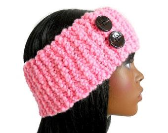 Bubblegum Pink Headband, Merino Wool Headband, Hand - Knit Earwarmer, Small to Large Size