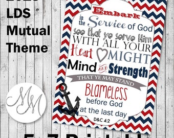 "Embark in the Service of God Art- 2015 Mutual Theme Printable 5x7"" Nautical. Red white and blue"