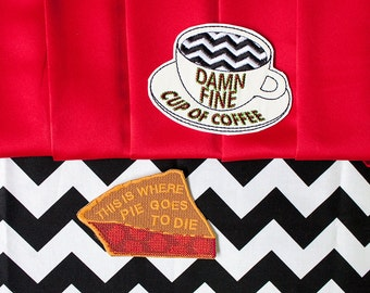 Twin Peaks Pie and Coffee Patch Set / Embroidered / Badge / Damn Fine Cup of Coffee / Cherry Pie