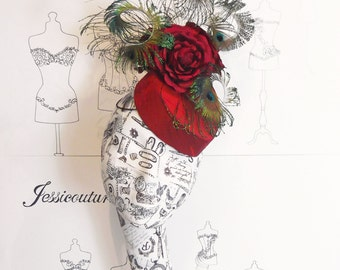 Pillbox Hat - 1940's Scarlet with Roses and Peacock Swords