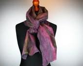 Nuno felted scarf Shades Lilac Purple and green - Elegant nuno felt scarf for her - Long  Scarf - Nunoscarf - silk wool shawl hand dyed