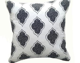 Lanterns in black on white linen cushion cover 45cm x 45cm
