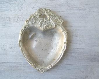 Art Nouveau Flower Rimed Heart shape Small Serving Bowl Mid century Silver Tone Snack Bowl Romantic Vanity Desk Decor Gift Jewelry Organizer