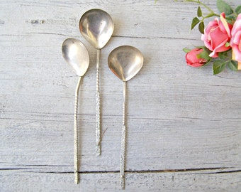 Vintage Soviet Ladle Spoon Set, Swirl Handle, Midcentury Serving Flatware, Gravy Ladle, USSR Antique Cutlery, Victorian Table, Hostess Gift