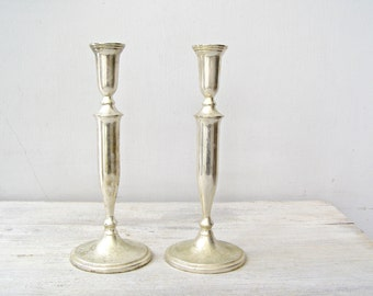 Art Deco Candlestick Holders, Silver Plated Mid century Tall candle Holders wedding Table Decor Gift Vintage Victorian Tableware Centerpiece