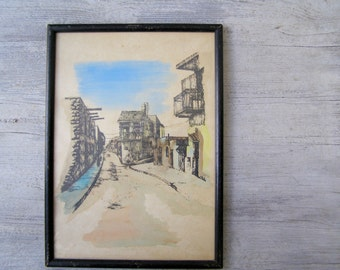 Old City Jerusalem Framed Ink Drawing, Vintage Original Street Watercolor Cityscape Painting, Mid Century Office Wall Art, Collectible