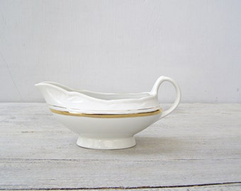 White Porcelain Gravy Boat Riga, Vintage Soviet Gold Rim French Country Chic Transferware Mid Century Restaurant China Tableware Traditional