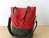 Waterproof Foldover Bag - Convertible Tote - Waxed Canvas - Cotton Adjustable Strap - Leather Handles - Floral Lining