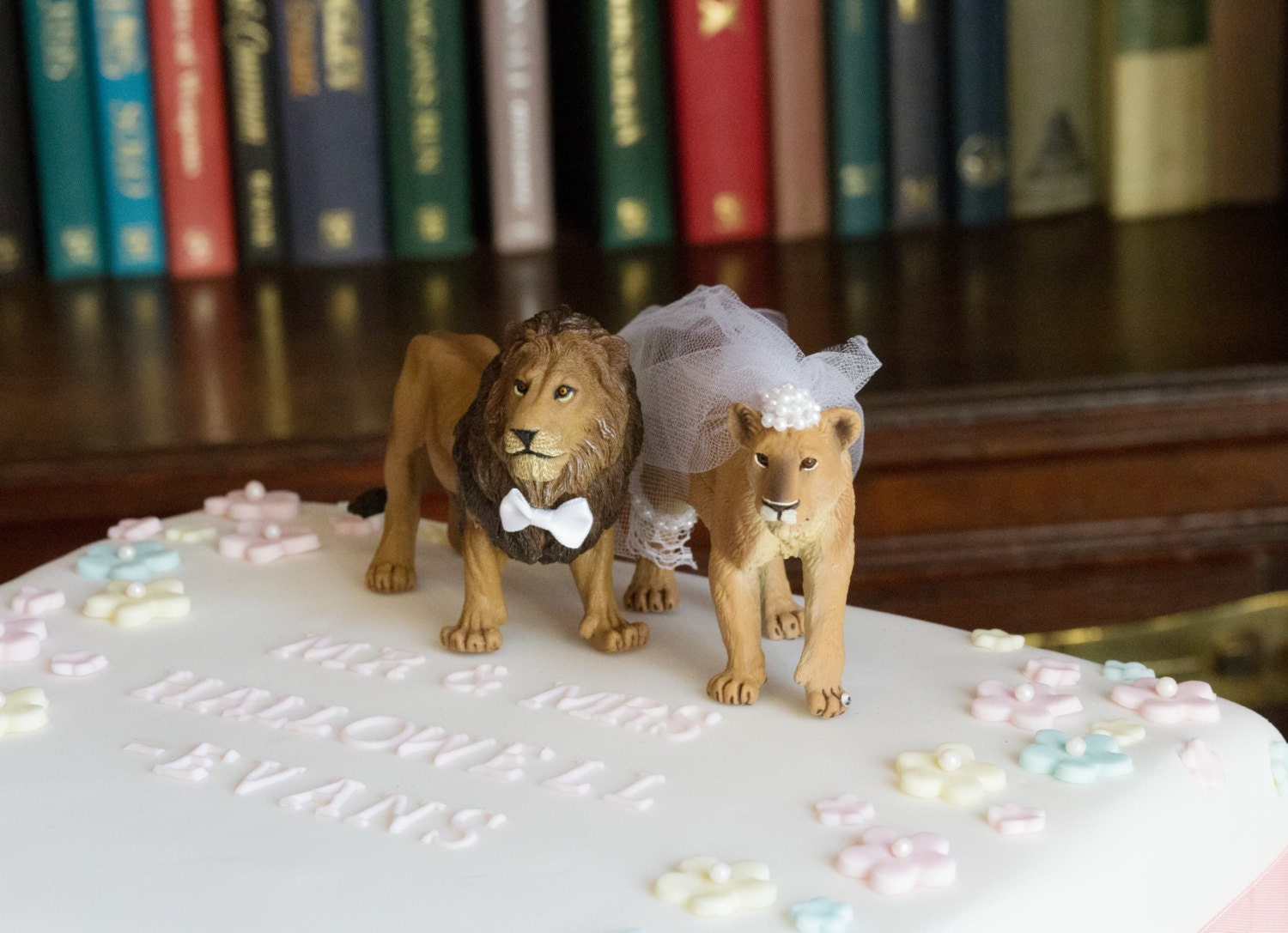 Lion lioness wedding cake topper zoo themed animal bride groom