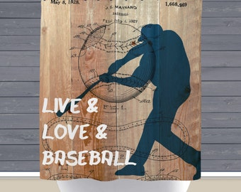 Baseball Shower Curtain: Live Love Baseball Patent Sports Theme | 12 Eyelet/Button Hole | Size and Pricing via Dropdown