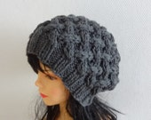 Unisex slouchy - beanie hat - Slouch Beanie - Large hat  chunky hat - Chunky Knit Winter Fall accessories Knit Cable hat  -  any color #14