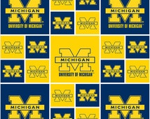 University of Michigan Blocks Fabric