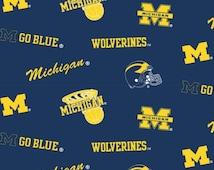 University of Michigan Sports Logo Fabric