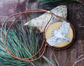 Aerial - Wooden Illustrated Owl Necklace