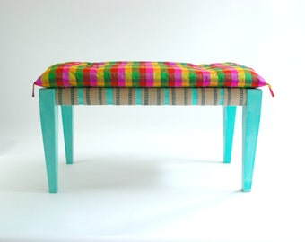 Citrus Silk Cheque Cushion for Chez Boheme DayBench