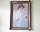 Oil Painting, Large Oil on Canvas Portrait Painting by D Tojetti in Gold Frame