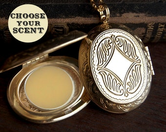 Perfume Locket Necklace with Solid Scent - Victorian Gold or Silver - Choose Your Scent