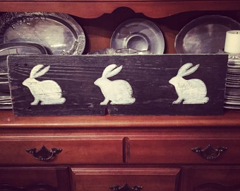 Bunny Rabbit painted Silhoutte Sign