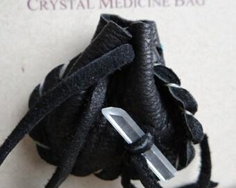 Grounding and Protection Handmade Pocket Size Crystal Mojo Medicine Bag
