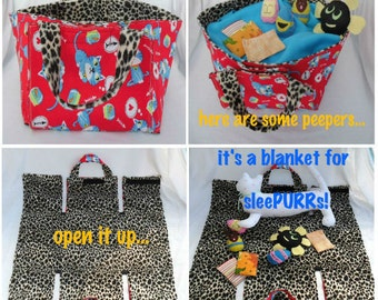 Cat Toy Basket and Fold Out Blanket. Multi Purpose Tote