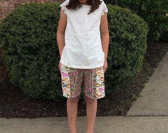 Treasure Pocket Shorts, girls shorts, shorts, pockets, modest shorts