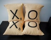 XOXO -- Set of 4 SCRABBLE LETTER decorative pillow cases cushion covers -- choose any 4 letters