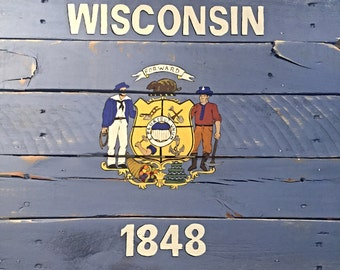 Wisconsin Flag State On Pallet Wood Hand Painted