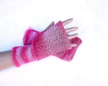 knitted cotton gloves, knit colorful lace  fingerless gloves, women pink red arm warmers, knitting accessories, hand warmers,