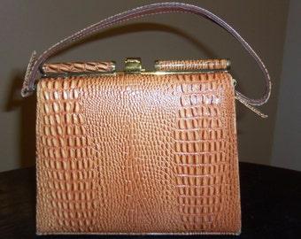 Vintage CROC Embossed Double Sided Handbag